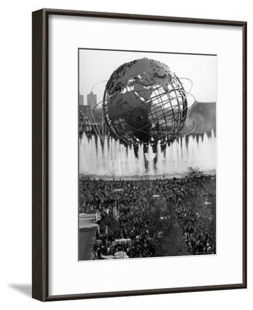 Fountains Surrounding Unisphere at New York World's Fair on Its Closing Day-Henry Groskinsky-Framed Photographic Print