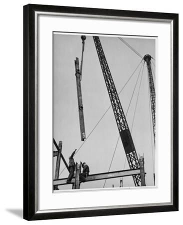 Construction Workers on a Gridiron in Red Lion Square, London, England, Early 20th Century--Framed Photographic Print
