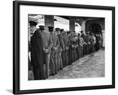Hotel Porters Waiting For Zurich Arosa Train Arrival-Alfred Eisenstaedt-Framed Photographic Print