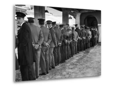 Hotel Porters Waiting For Zurich Arosa Train Arrival-Alfred Eisenstaedt-Metal Print