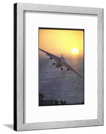 Jet Plane, A4D Skyhawk, Taking Off From USS Independence at Sunrise over Mediterranean Sea-John Dominis-Framed Photographic Print