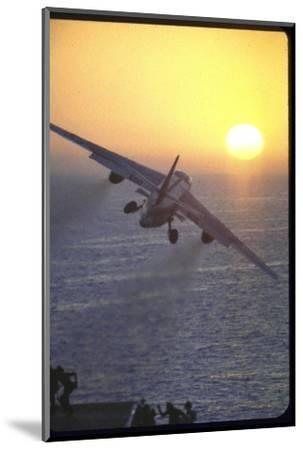 Jet Plane, A4D Skyhawk, Taking Off From USS Independence at Sunrise over Mediterranean Sea-John Dominis-Mounted Photographic Print