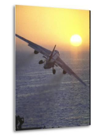 Jet Plane, A4D Skyhawk, Taking Off From USS Independence at Sunrise over Mediterranean Sea-John Dominis-Metal Print