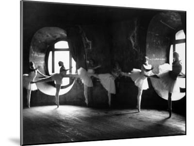 """Ballerinas at Barre Against Round Windows During Rehearsal For """"Swan Lake"""" at Grand Opera de Paris-Alfred Eisenstaedt-Mounted Photographic Print"""