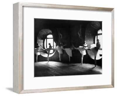 """Ballerinas at Barre Against Round Windows During Rehearsal For """"Swan Lake"""" at Grand Opera de Paris-Alfred Eisenstaedt-Framed Photographic Print"""