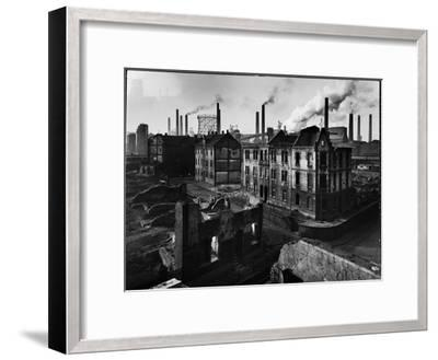Bomb Damaged Buildings in the Shadow of the Thyssen Steel Mill-Ralph Crane-Framed Photographic Print
