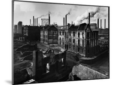 Bomb Damaged Buildings in the Shadow of the Thyssen Steel Mill-Ralph Crane-Mounted Photographic Print