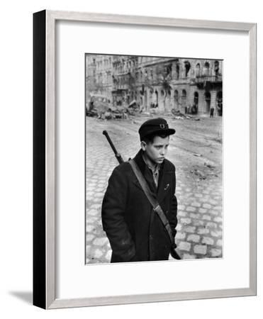 Hungarian Freedom Fighter During Revolution Against Soviet Backed Government-Michael Rougier-Framed Photographic Print