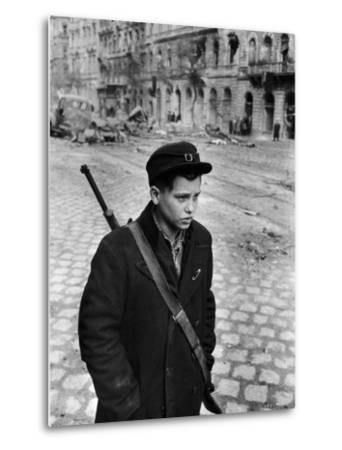 Hungarian Freedom Fighter During Revolution Against Soviet Backed Government-Michael Rougier-Metal Print