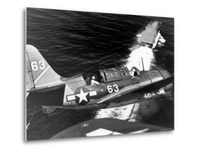 American SB2C Scout Plane Circling Above an Aircraft Carrier Prior to Landing--Metal Print