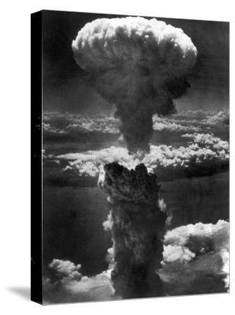 Atomic Bomb Smoke Capped by Mushroom Cloud Rises More Than 60,000 Feet Into Air over Nagasaki--Stretched Canvas Print