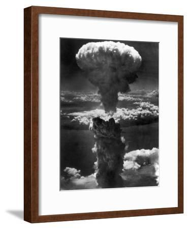 Atomic Bomb Smoke Capped by Mushroom Cloud Rises More Than 60,000 Feet Into Air over Nagasaki--Framed Photographic Print
