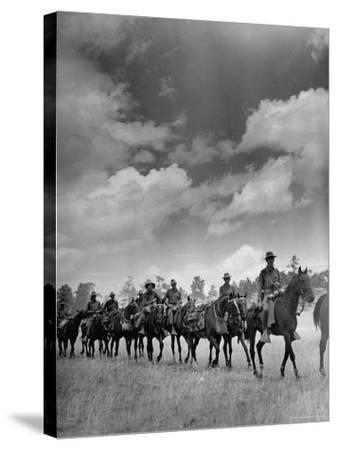 Cavalry in Maneuvers at Ft. Francis Warren-Horace Bristol-Stretched Canvas Print