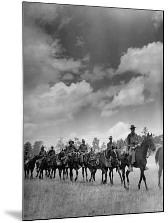 Cavalry in Maneuvers at Ft. Francis Warren-Horace Bristol-Mounted Photographic Print