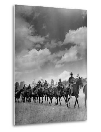 Cavalry in Maneuvers at Ft. Francis Warren-Horace Bristol-Metal Print