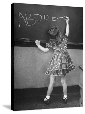 Little Girl Learning Her Abc's-Nina Leen-Stretched Canvas Print