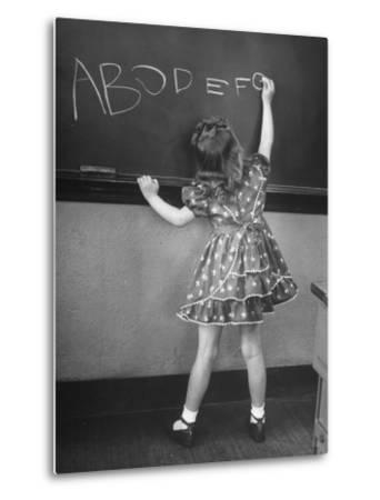 Little Girl Learning Her Abc's-Nina Leen-Metal Print