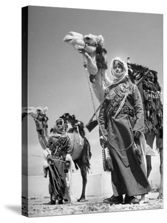 Arab Soldiers Standing Guard with Their Camels-John Phillips-Stretched Canvas Print