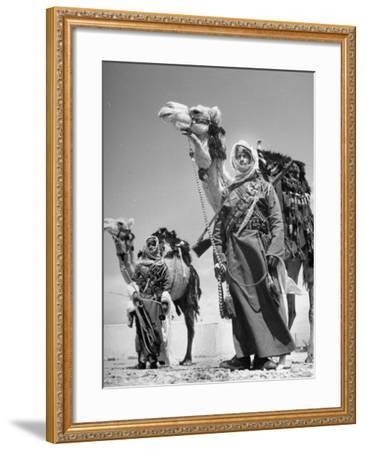 Arab Soldiers Standing Guard with Their Camels-John Phillips-Framed Photographic Print
