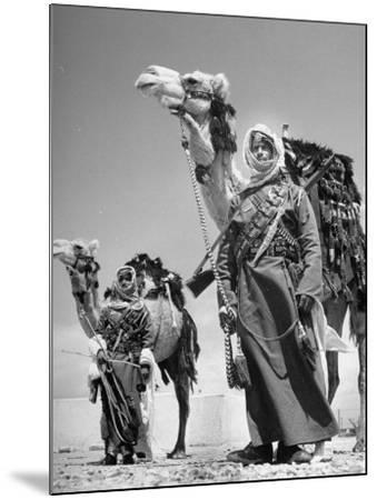 Arab Soldiers Standing Guard with Their Camels-John Phillips-Mounted Photographic Print