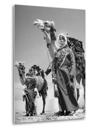 Arab Soldiers Standing Guard with Their Camels-John Phillips-Metal Print