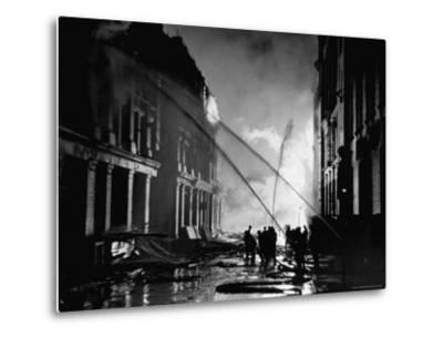 London Auxiliary Fire Service Working on a Fire Near Whitehall Caused by Incendiary Bomb-William Vandivert-Metal Print
