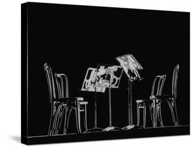 Chairs and Music Stands For the Budapest String Quartet-Gjon Mili-Stretched Canvas Print