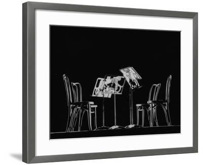 Chairs and Music Stands For the Budapest String Quartet-Gjon Mili-Framed Photographic Print