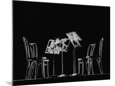 Chairs and Music Stands For the Budapest String Quartet-Gjon Mili-Mounted Photographic Print
