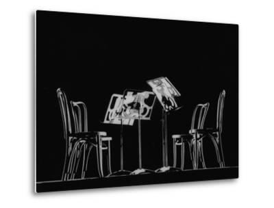 Chairs and Music Stands For the Budapest String Quartet-Gjon Mili-Metal Print