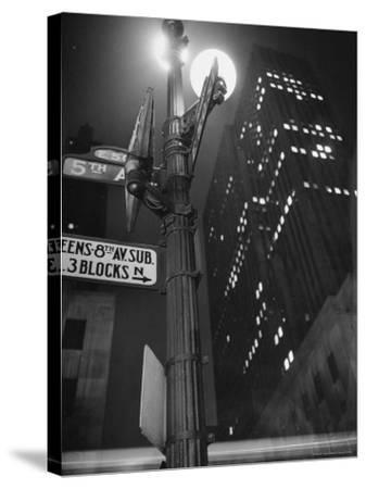 Lights in Skyscrapers at Rockefeller Center Being Dimmed to Conserve Energy During WWII-William C^ Shrout-Stretched Canvas Print