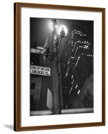 Lights in Skyscrapers at Rockefeller Center Being Dimmed to Conserve Energy During WWII-William C^ Shrout-Framed Photographic Print