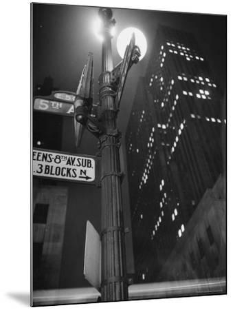 Lights in Skyscrapers at Rockefeller Center Being Dimmed to Conserve Energy During WWII-William C^ Shrout-Mounted Photographic Print