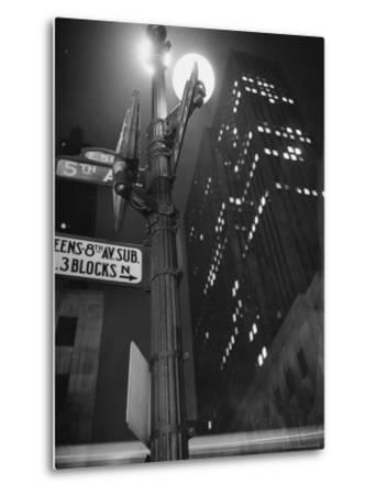 Lights in Skyscrapers at Rockefeller Center Being Dimmed to Conserve Energy During WWII-William C^ Shrout-Metal Print