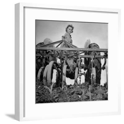 Patricia Colleen Altree Harrowing a Corn Field-J^ R^ Eyerman-Framed Photographic Print