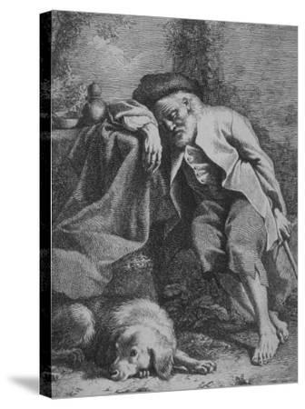 Etching by Francesco Londonio Da Napoli of Old Man Sleeping, Leaning on Table, His Dog Close By--Stretched Canvas Print