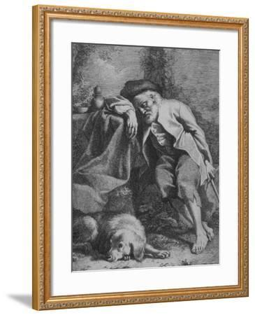 Etching by Francesco Londonio Da Napoli of Old Man Sleeping, Leaning on Table, His Dog Close By--Framed Photographic Print