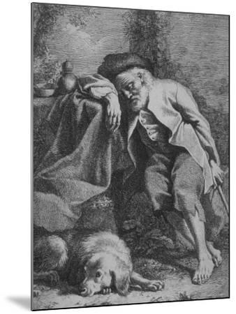 Etching by Francesco Londonio Da Napoli of Old Man Sleeping, Leaning on Table, His Dog Close By--Mounted Photographic Print