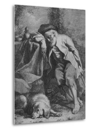 Etching by Francesco Londonio Da Napoli of Old Man Sleeping, Leaning on Table, His Dog Close By--Metal Print
