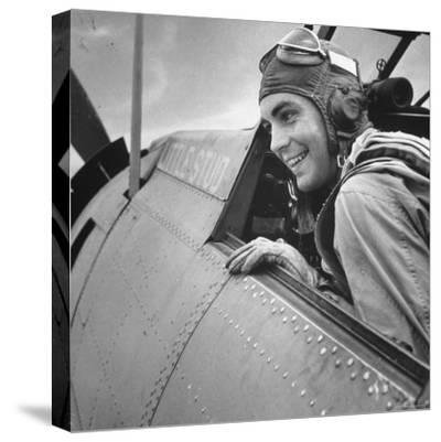 US Pilot at Midway Naval Base-Frank Scherschel-Stretched Canvas Print