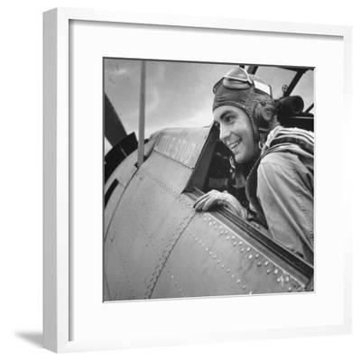 US Pilot at Midway Naval Base-Frank Scherschel-Framed Photographic Print