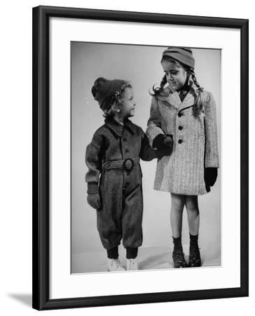 Children Modeling Clothes from a Story Concerning Dresses For Invasion Countries-Nina Leen-Framed Photographic Print