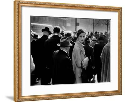 Elise Daniels, Young Model, Standing on Crowded New York City Street-Gjon Mili-Framed Photographic Print