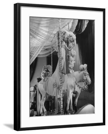 """Chorus Girl Standing on Horse's Back During Filming of the Movie """"The Ziegfeld Follies""""-John Florea-Framed Photographic Print"""