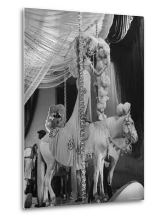 "Chorus Girl Standing on Horse's Back During Filming of the Movie ""The Ziegfeld Follies""-John Florea-Metal Print"