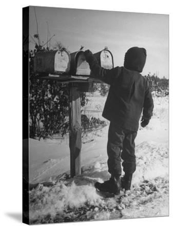 Country Boy Opening His Mailbox-Wallace Kirkland-Stretched Canvas Print