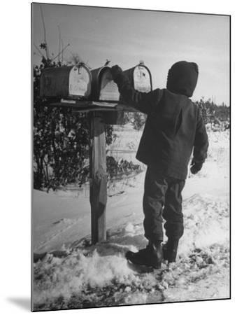 Country Boy Opening His Mailbox-Wallace Kirkland-Mounted Photographic Print