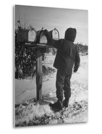Country Boy Opening His Mailbox-Wallace Kirkland-Metal Print