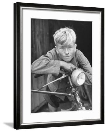 Close Up of Village Boy Posing with His Bicycle-Walter Sanders-Framed Photographic Print