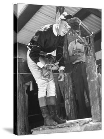 Jockey Weighing in at Race Track-Cornell Capa-Stretched Canvas Print
